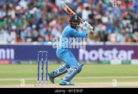 India's KL Rahul during the ICC Cricket World Cup group stage match at Edgbaston, Birmingham. - Stock Photo