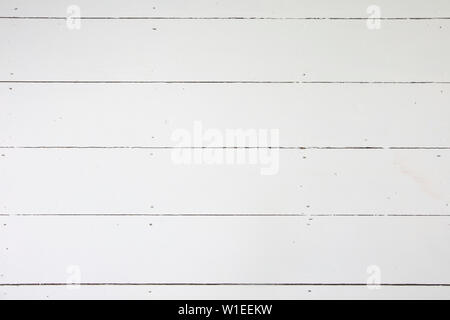 White wooden floorboards. Old floorboard texture background painted white - Stock Photo