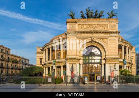 The Politeama Theatre, Palermo, Sicily, Italy, Europe - Stock Photo