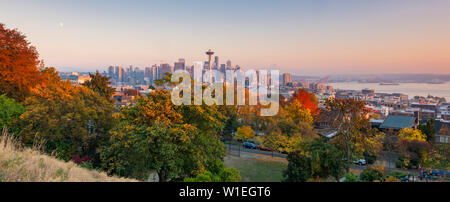 View of the Space Needle from Kerry Park, Seattle, Washington State, United States of America, North America - Stock Photo