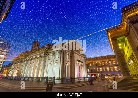 Royal Exchange Square at dusk, Gallery of Modern Art, Glasgow, Scotland, United Kingdom, Europe - Stock Photo