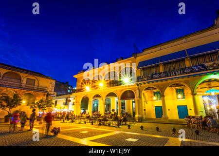 Old Town Square, Plaza Vieja at night, La Habana Vieja, UNESCO World Heritage Site, La Habana (Havana), Cuba, West Indies, Caribbean, Central America - Stock Photo