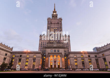 Palace of Culture and Science (Palac Kultury i Nauki), built in the 1950s, Warsaw, Poland, Europe - Stock Photo