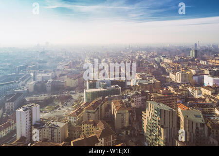 Aerial view of the business district in Milan, Lombardy, Italy, Europe - Stock Photo