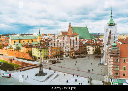 Sigismund's Column at the Castle Square (Plac Zamkowy), Old City, UNESCO World Heritage Site, Warsaw, Poland, Europe - Stock Photo
