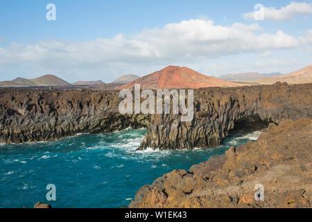 Los Hervideros, lava caves on the rugged Atlantic coast, El Golfo, Yaiza, Lanzarote, Las Palmas Province, Canary Islands, Spain, Atlantic, Europe - Stock Photo