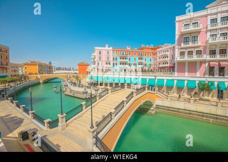 Two bridges in Venice Doha at Qanat Quartier in the Pearl-Qatar, Persian Gulf, Doha, Qatar, Middle East - Stock Photo