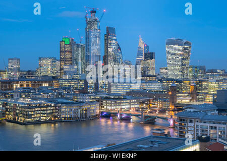 City of London skyline from The Tate, London, England, United Kingdom, Europe - Stock Photo