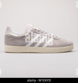 VIENNA, AUSTRIA - AUGUST 28, 2017: Adidas Gazelle grey sneaker on white background. - Stock Photo