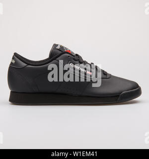 VIENNA, AUSTRIA - AUGUST 28, 2017: Reebok Princess black sneaker on white background. - Stock Photo