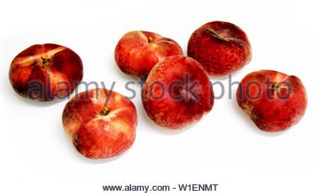Saturn Peaches on White Background, Valencia, Spain, June 2019 - Stock Photo