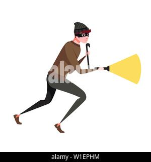 Running thief during robbery with a crowbar and a luminous flashlight cartoon character design flat vector illustration. - Stock Photo