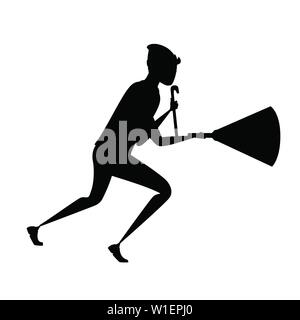 Black silhouette running thief during robbery with a crowbar and a luminous flashlight cartoon character design flat vector illustration. - Stock Photo