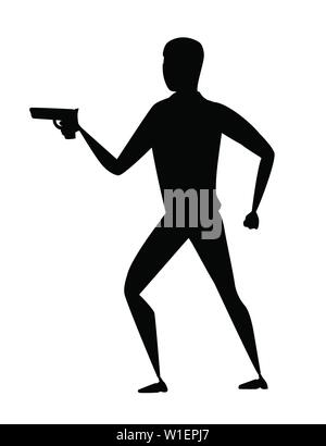 Black silhouette thief during robbery holding gun in one hand cartoon character design flat vector illustration. - Stock Photo