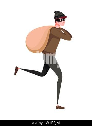 Running thief during robbery with bag cartoon character design flat vector illustration. - Stock Photo