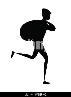 Black silhouette running thief during robbery with bag cartoon character design flat vector illustration. - Stock Photo