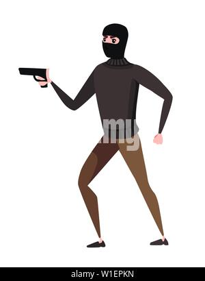 Thief during robbery holding gun in one hand cartoon character design flat vector illustration. - Stock Photo