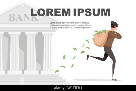 Running thief during robbery with bag money pours from the bag cartoon character design flat vector illustration with retro bank on background. - Stock Photo