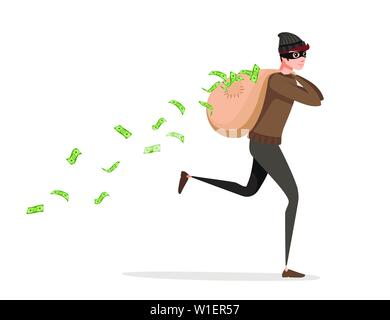 Running thief during robbery with bag money pours from the bag cartoon character design flat vector illustration. - Stock Photo
