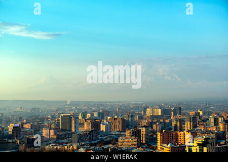 Sunset at Yerevan City, view with majestic Ararat mountain, Armenia - Stock Photo