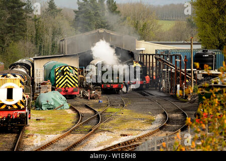 GWR Class 9400 pannier tank No 9466 with Royal Duchy headboard at Buckfastleigh shed during the South Devon Railway's 50th anniversary gala. - Stock Photo