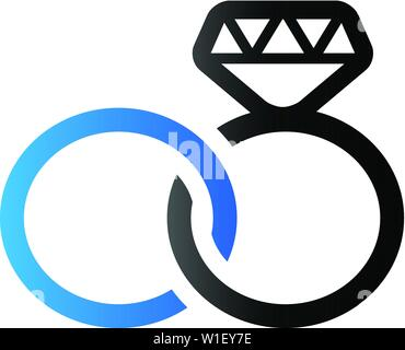 Wedding ring icon in duo tone color. - Stock Photo