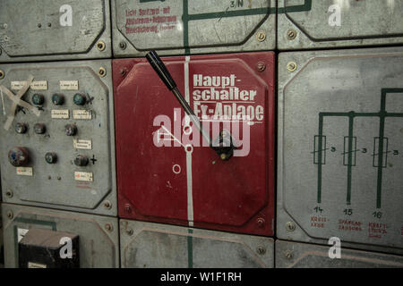 vintage main switch lever in factory - Stock Photo