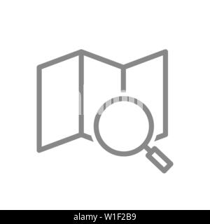Map under a magnifying glass line icon. Navigation symbol and sign - Stock Photo
