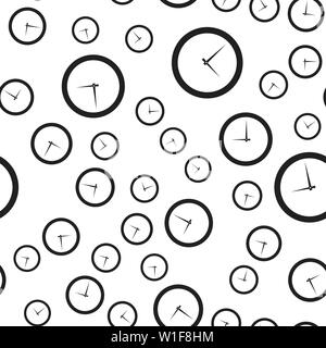 Seamless pattern of round clocks. Vector illustration on white background. - Stock Photo