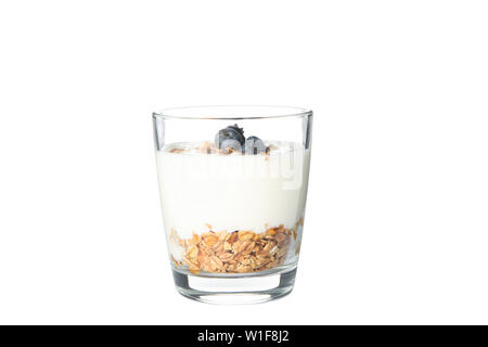Parfait dessert in glass isolated on white background - Stock Photo