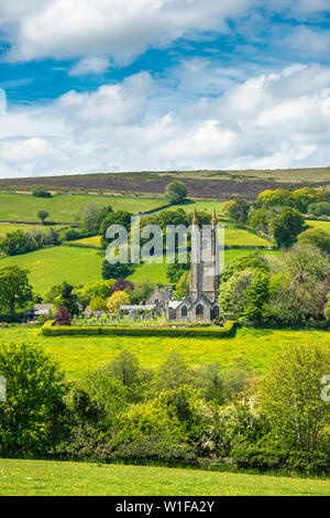 St Pancras Church at Widecombe in the Moor village in Dartmoor National park, Devon, England, UK. - Stock Photo