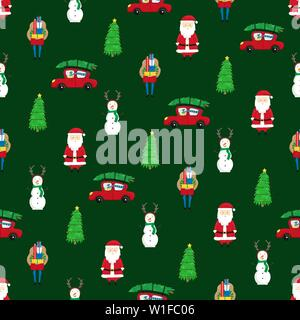 Christmas seamless pattern with Christmas trees, Santa Claus and snowmen. New Year pattern. - Stock Photo
