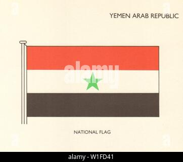 YEMEN FLAGS. Yemen Arab Republic. National Flag 1979 old vintage print picture - Stock Photo