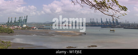 entrance from the pacific ocean in the panama canal panama city panama - Stock Photo