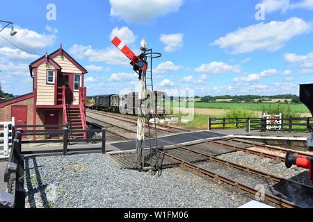 Signal box on a Heritage railway - Stock Photo