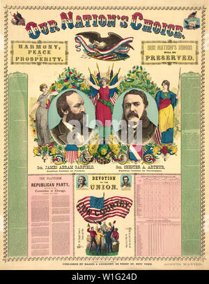 Our Nation's Choice--General James Abram Garfield, Republican Candidate for President, General Chester A. Arthur, Republican Candidate for Vice-President, Campaign Poster, Haasis & Lubrecht Publishers, 1880 - Stock Photo