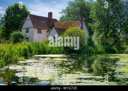 Willy Lott's cottage, Flatford Mill, East Bergholt, Suffolk, UK - Stock Photo