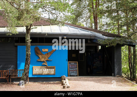Entrance to RSPB Loch Garten Osprey Centre in Abernethy Forest Nature Reserve in Cairngorms National Park. Nethybridge Strathspey Highland Scotland UK - Stock Photo