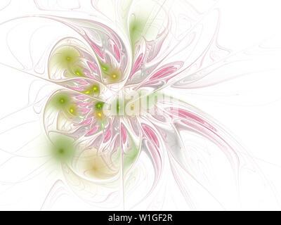 Fractal illustration of bright background with floral ornament. Creative element for design. Fractal flower rendered by math algorithm. Digital artwor - Stock Photo