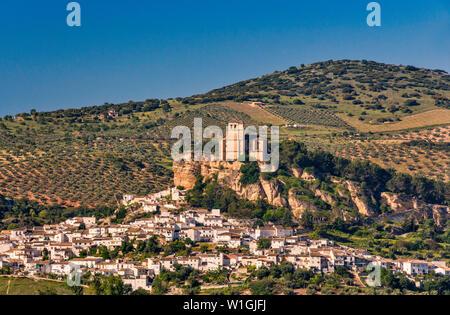 Iglesia de la Villa, 16th century church built at former Arab fortress above village of Montefrio, Granada province, Andalusia, Spain - Stock Photo