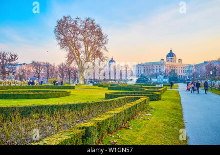 VIENNA, AUSTRIA - FEBRUARY 18, 2019: The Volksgarten (People's Park) is one of the central parks, surrounded with historical landmarks and boasts geom - Stock Photo