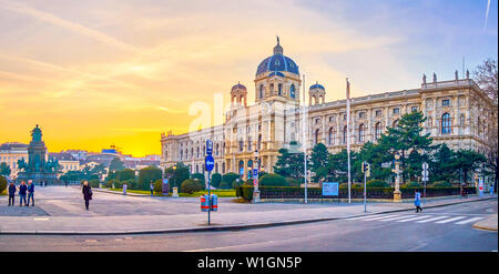 VIENNA, AUSTRIA - FEBRUARY 18, 2019: The large Natural History Museum located in historical Palace in Maria Theresien Platz, on February 18 in Vienna - Stock Photo