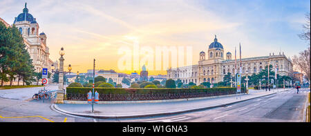 VIENNA, AUSTRIA - FEBRUARY 18, 2019: The small ornamental garden sandwiched between huge palaces on Maria Theresien Platz, on February 18 in Vienna - Stock Photo
