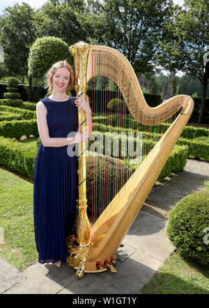 Alis Huws, the new Official Harpist to the Prince of Wales, poses for a photo during a musical evening hosted by the Prince of Wales and the Duchess of Cornwall at their official Welsh residence Llwynywermod in Llandovery, Carmarthenshire. - Stock Photo