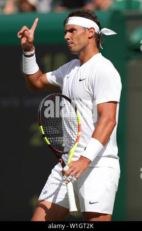 Rafael Nadal 2019 WIMBLEDON - Stock Photo