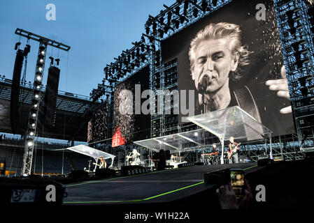 """Luciano Ligabue performs live on stage at the Stadio Olimpico Grande Torino in Turin for the """"Start Tour 2019"""". - Stock Photo"""