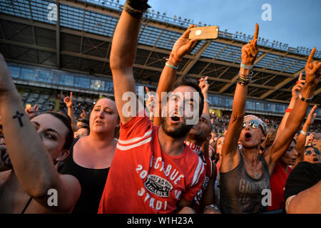 "Fans cheer for Luciano Ligabue performing live on stage at the Stadio Olimpico Grande Torino in Turin for the ""Start Tour 2019"". - Stock Photo"