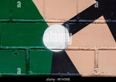 Detail of cracked old brick wall, old chipped paint, scratch. Graphic abstract background - Stock Photo