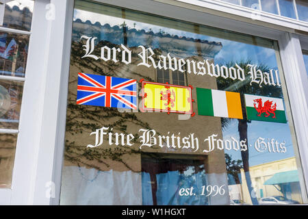 Melbourne Florida Historic Downtown Main Street business store window imports fine British foods Lord Ravenswood Hall gifts sh - Stock Photo