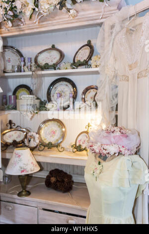 Mount Dora Florida Mt. historic downtown Garden Gate Tea Room tearoom parlor restaurant business Victorian decor display gift sh - Stock Photo
